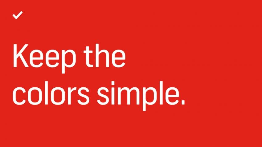 При создании презентации фрилансер должен выбирать простые цвета