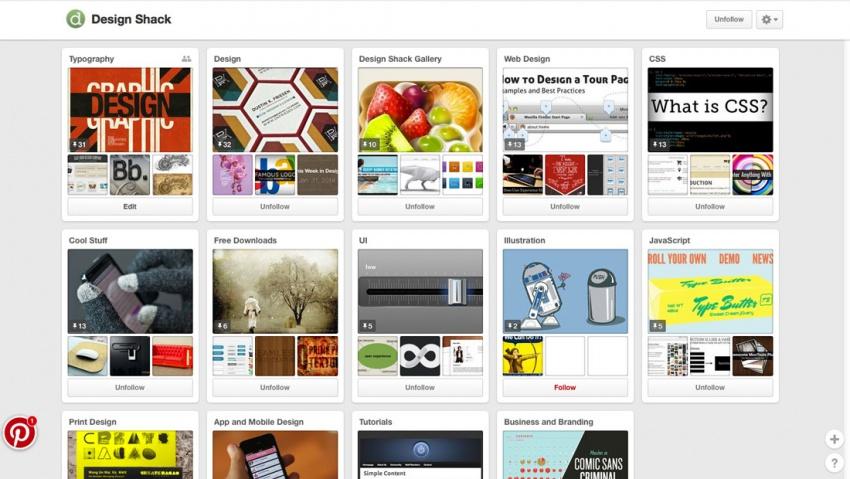 Навигация на сайте Pinterest