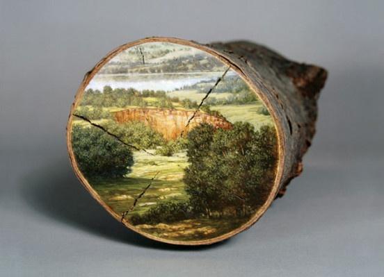Пейзажи на срезах бревен