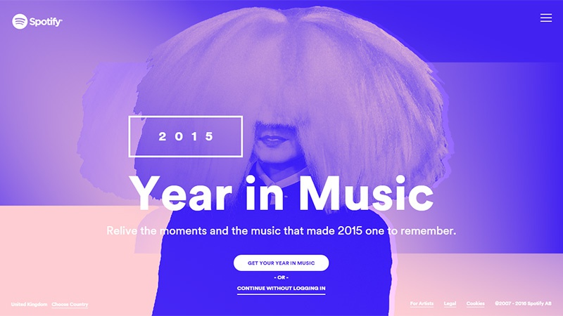 Главная страница сайта Year in Music by Spotify