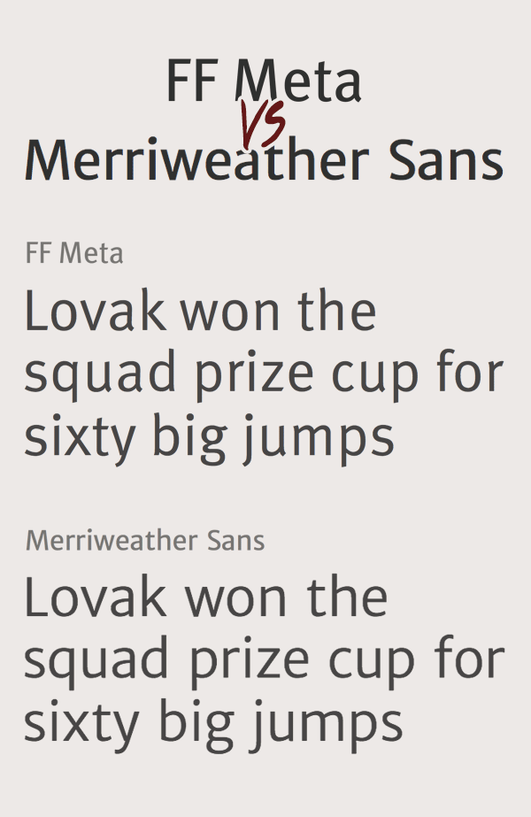 FF Meta и Merriweather Sans