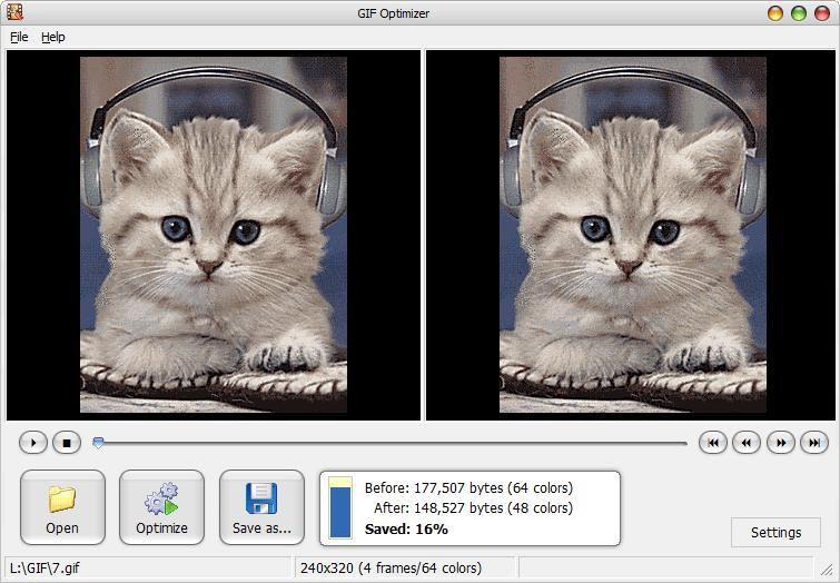 Инструмент GIF Otimizer