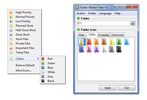 Изменение цвета папок в Windows 10