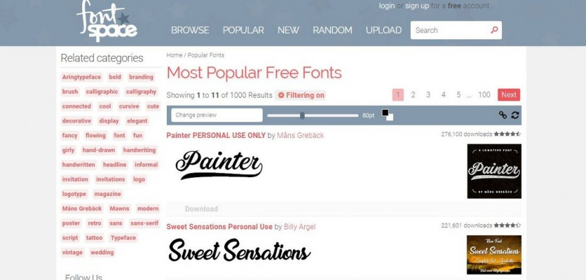 Сайт FontSpace