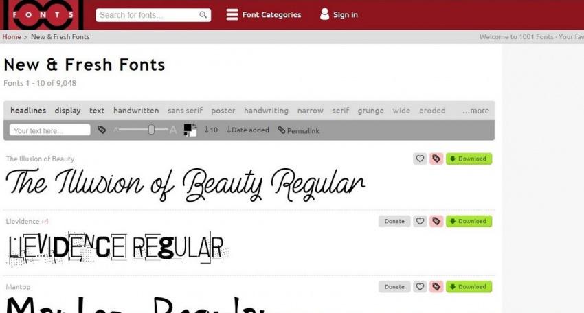 Сайт 1001 Fonts