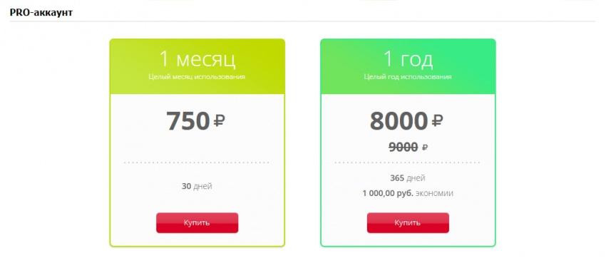 Стоимость PRO-аккаунта