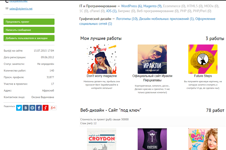 Интерфейс и юзабилити портфолио на биржах Рунета